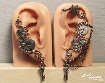 Pale STEAMPUNK EAR WRAP and ear cuff set - gear ear cuff, no piercing ear cuff, adjustable ear cuff, steampunk jewelry, elegant steampunk
