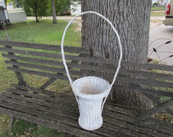 Vintage Tall White Wicker Basket with High Handle