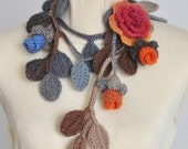 Rose Life - Brown - Crochet Multicolor Rose and Leaf Lariat/Scarf