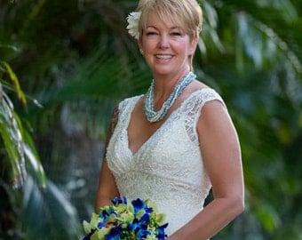 Pearl and Aquamarine Necklace Layered Multi Strand Twist Fashion Island Beach Bride Romantic Something Blue Shabby Chic Style by Mei Faith
