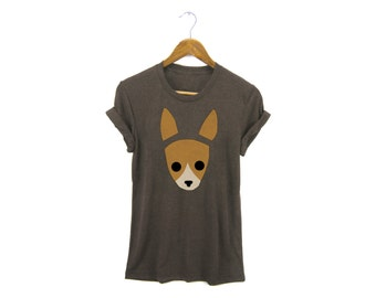 Geo Chihuahua Tee - Boyfriend Fit Crew Neck T-shirt with Rolled Cuffs in Heather Brown and Gold - Women's Size S-4XL