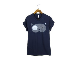 Geo Fat Cat Tee - Hand Stenciled Crew Neck Pinned Rolled Cuffs Women's Boyfriend Fit Tshirt in Navy Blue and Grey - S M L XL 2XL 3XL