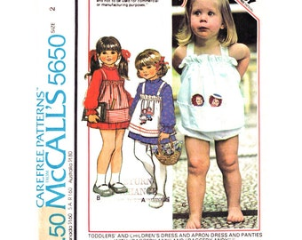 Girls Dress Sundress & Panties Pattern McCalls 5650 Playsuit Raggedy Ann and Andy Sunsuit Transfers Toddler Girl Sewing Pattern Size 2 UNCUT