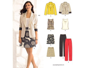 Womens Sewing Pattern Jacket Top Mini Skirt & Pants Pattern New Look 6035 Trouser or Skirt Suit Size 4 to 16 UNCUT