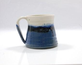 16 oz Mug Ceramic Colorful Ceramic Mug Large White Blue and Black