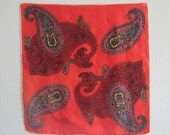Vintage 1960s Scarf - Chic Suzy Simpson Red Paisley Silk Scarf - 60s Persian Paisley Scarf