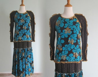 Vintage 1980s Dress - Chic Black, Gold, and Aqua Dress by Jeanne Marc - 80s Avant Garde Dress S