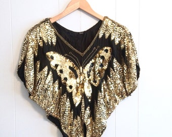 vintage 80s GOLD + BLACK sequin BUTTERFLY silk top
