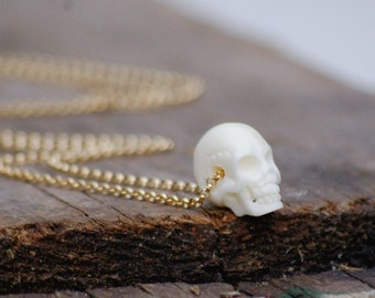 Boho Chic SKULL Necklace  Carved Bone Statement Pendant 14K Gold Filled Layering Goth Halloween Day of the Dead Festival Jewelry