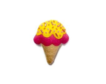 Ice Cream Brooch - Pink Ice Cream - Cute Brooch - Ice Cream Pin