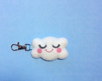 Cloud Keyring - Happy Cloud Charm - Cloud Key Chain - Featured in Frankie - Kawaii Key Chain - Christmas Stocking Stuffer