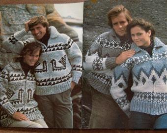 Vintage WHITE BUFFALO book 2 knitting patterns Cowichan cardigans pullovers bomber jackets men women
