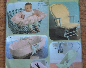 2005  simplicity pattern 4636  baby basket insert umbrella stroller cover car seat cover glider chair cover shopping cart seat cover uncut