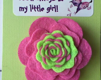 Pink and Green Camellia Felt Clippie