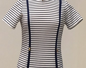 1960s Sporty Stripe Knit Dress - Shift or Sheath Style - Textured Stripe in Navy and White - Nautical Casual Day Dress - Easy Wear - 38 Bust