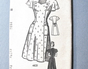 4631 Mail Order Early 1940s Misses' Dress Vintage Sewing Pattern  Bust 34 Waist 28 Hip 37 inches