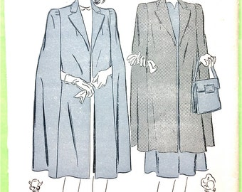 factory folded Early 1940s Cape Pattern Advance 2697 Bust 32 Bust 34 Vintage Sewing Pattern