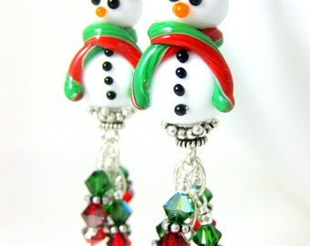 Red Hat Snowman & Red Green Crystal Dangle Earrings, Christmas Earrings, Winter Jewelry, Funny Earrings, Holiday Jewelry, Lampwork Glass