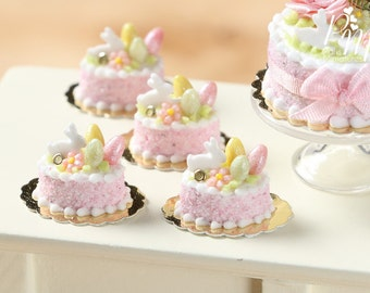 Easter Individual Pastry Decorated with Candy Eggs and Bunny - Light Pink - Miniature Food in 12th Scale for Dollhouse