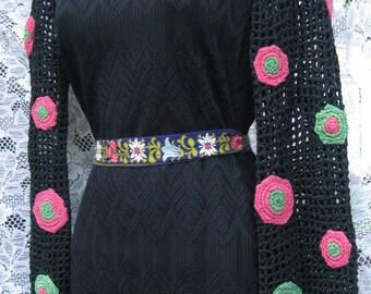 Mardi Gras larger BLACK CROCHET Peasant dress, winter to spring dress,  60s 1960s maxi dress gown, crochet dress embroidery style dress