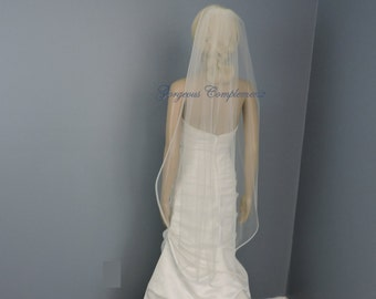 "1/4"" Horsehair Trim Wedding Veil , Bridal Veil Single Tier"