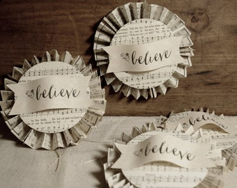 Paper Accordian Ornament * paper art * tag * ephemera * believe * Christmas * packaging