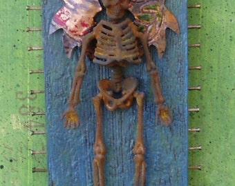 Assemblage Art Found Object Shrine Skeleton Halloween