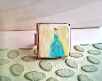 Statement Ring Hand Painted Renaissance Lady in Emerald Gown  Bright Copper  - Ginger in Emerald.