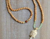 108 Bead Mala: Cypress, Jade and Rudraksha seed