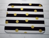 black white stripes gold Mouse Pad gold dots mousepad / Mat - Rectangle or round - office desk accessories