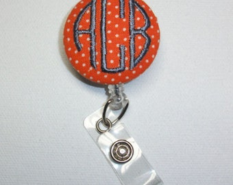 Retractable ID Badge Holder Reel  - Fabric Button -  swiss pin dots with monogram 3 circle  initial custom