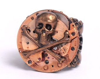 Steampunk Antique Rose Gold Watch Movement n Skull Adjustable Ring
