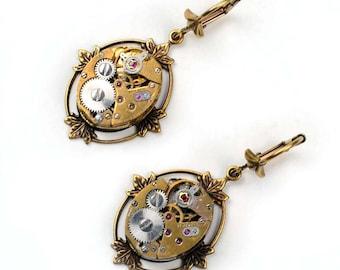 Steampunk Vintage Gold Watch Movement Brass Bezel Earrings