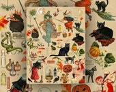 Halloween Scrapbook Image Collection Download and Print Vintage Halloween Witches, Black Cats, Toads etc