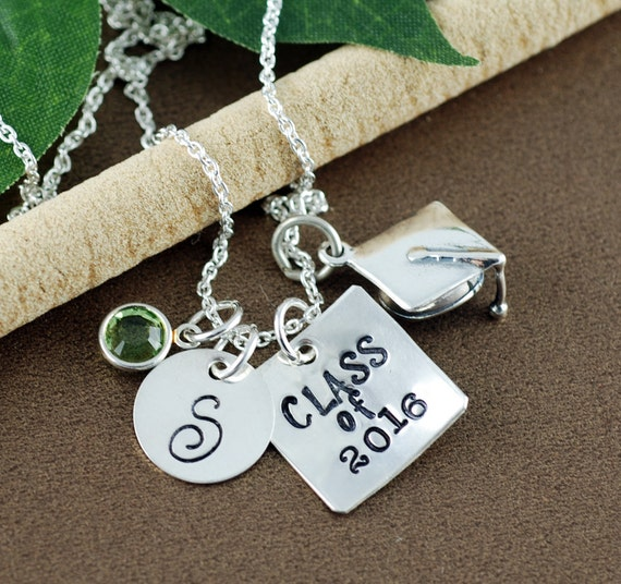 Class of 2016 Graduation Necklace   High School Graduation Gift Necklace   Hand Stamped Necklace   Gift for Graduate   Initial Necklace