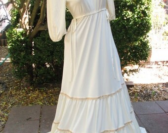 1970's Vintage Jody Of California Ivory Victorian Prairie Gown~Lace Yoke Collar