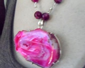 Reserved for Suzanne    Pink Botswana Agate Pendant and Beads