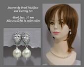 CUSTOM COLOR Swarovski Ivory Pearl Bridal Jewelry Set, Swarovski Wedding Jewelry Set, Mother of the Bride Jewelry, Large Pearl Jewelry Set