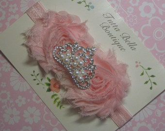 Rhinestone Crown Headband, Pink Baby Headband, Crystal Tiara Headband, 1st Birthday Pink Crown Hair Bow, Toddler Headband, Newborn Headband