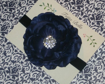 Navy Flower Headband, Baby Headband, Navy Velvet Headband, Navy Baby Bow, Flower Girl Headband Bridesmaid Headband, Toddler Headband