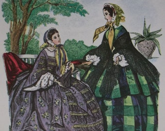 Beautiful Victorian Ladies-1800's Huge Fashion Hoop Dresses-Colorful Artist Signed Litho Print