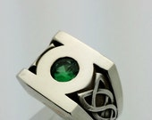 Sterling Silver Green Lantern Ring, Created Emerald Ring Custom Celtic Ring, Green Lantern Symbol Ring, DC Comics Jewelry, Celtic Detail