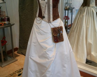 Victorian Steampunk Pirate Wedding Dress Corset and Skirt Size 10