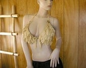 Feathered scale-mail Cream leather bra, deerskin leather with hand cut leather feathers & conchos, ties in back, size D cup