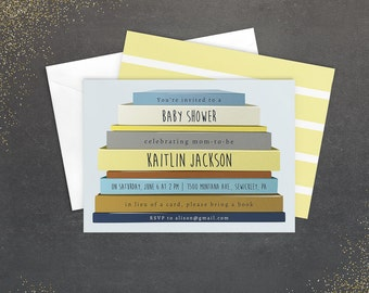 Book Baby Shower Invitation, Photoshop Template, Book Stack, Blue and Gold Boy