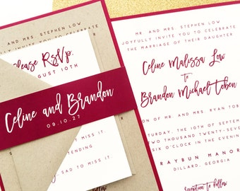 Wedding Invitation, Wedding Invite, Burgundy, Wine, Marsala, Pomegranate, Kraft, Invitations