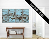 EXTRA Large Tandem Bicycle Wall Art - Vintage Bike Print Collection on Wood Panels - Custom Colors 32X64