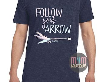 T2K Follow Your Arrow Heather Navy V-Neck TEE