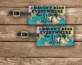 Luggage Tag Set It's on my list Vintage Map Metal Luggage Tag Set With Custom Info On Back, 2 Tags Choice of Straps