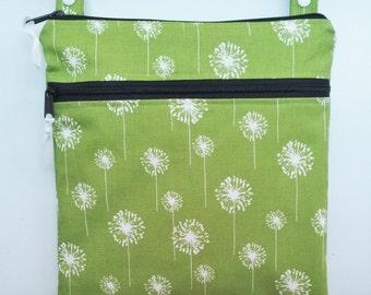 Green Dandelion Waterproof bag,  cloth diaper bag, swimsuit bag, kitchen wet bag, nappy bag,